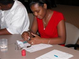 Summer campers at NCA&T work on a learning module developed at UIUC.