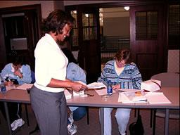 External evaluator Renee Lemmons conducts a survey with teachers.
