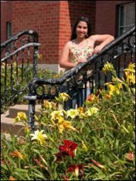 2006 SROP student Ana Rodríguez pictured outside the Grainger Engineering Laboratory at Illinois.