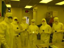 High School researchers working in the Cleanroom