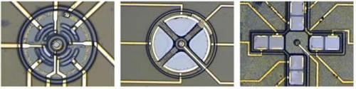 Optical image of three sensing configurations of a VCSEL surrounded by a PIN detector.
